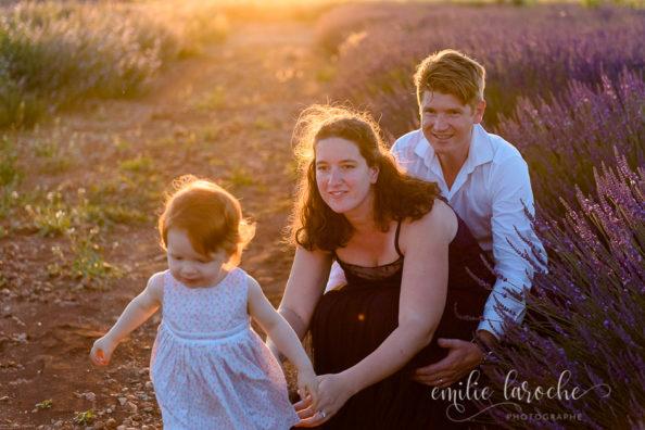 Séance photos famille dans les lavandes